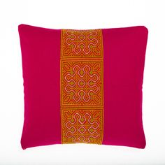 VINTAGE HMONG PILLOW | PINK WOOL