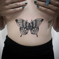 A butterfly on your stomach. | 49 Bloody Brilliant Black & Grey Tattoo Ideas