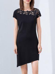 #AdoreWe #StyleWe AMII Black Crew Neck Short Sleeve Asymmetric Midi Dress - AdoreWe.com