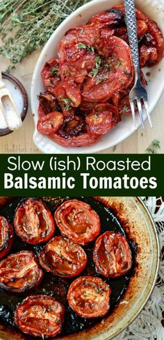Enjoy the sweet bounty of summer year-round with these easy and intensely delicious slow roasted tomatoes with balsamic and thyme. Keto Crockpot Recipes, Diet Recipes, Easy Recipes, Healthy Recipes, Slow Roasted Tomatoes, Plum Tomatoes, Dried Tomatoes, Side Dish Recipes, Side Dishes