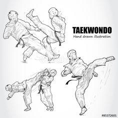 Vector: illustration of Taekwondo. Mma, Shotokan Karate Kata, Taekwondo Belts, Jaguar Tattoo, Body Tutorial, Martial Arts Techniques, Drawing Poses, Sports Art, Figure Drawing