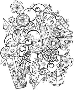 coloring pages - Welcome to Dover Publications; Creative Haven Deluxe Edition Sweet Dreams Coloring Book Food Coloring Pages, Printable Adult Coloring Pages, Mandala Coloring Pages, Coloring Pages To Print, Coloring Sheets, Coloring Books, Free Adult Coloring, Kids Coloring, Doodle Coloring