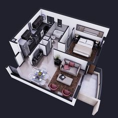 Borques 124 Apartments on Behance Modern House Floor Plans, Sims House Plans, House Layout Plans, Home Design Floor Plans, House Layouts, Small House Plans, Small Apartment Plans, Studio Apartment Floor Plans, Apartment Layout
