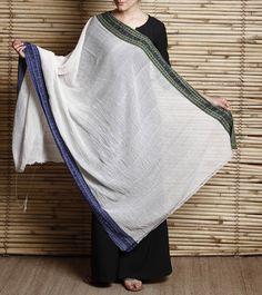 White Khadi cotton Hand Woven Dupatta