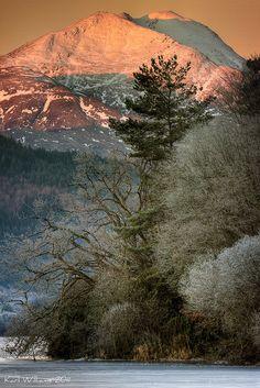 Ben Lomond lit up at down, Loch Ard, Trossachs, Scotland by Karl Williams