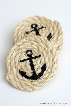 DIY Nautical Coasters Making Home-- Buy twine, roll into coaster shape, pick any stencil you'd like Mod Podge to ensure paint doesn't bleed paint, and cute customized coaster, Monogram would be cute