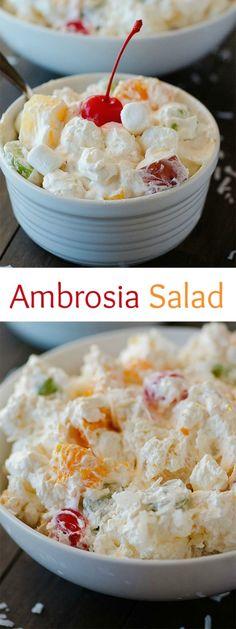 ideas for fruit recipes dessert ambrosia salad Desserts Sains, Köstliche Desserts, Delicious Desserts, Dessert Recipes, Yummy Food, Healthy Food, Health Desserts, Dessert Aux Fruits, Dessert Salads