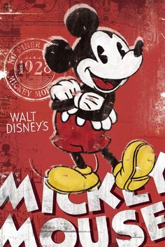 *MICKEY MOUSE - RED - DISNEY VINTAGE STYLE Poster