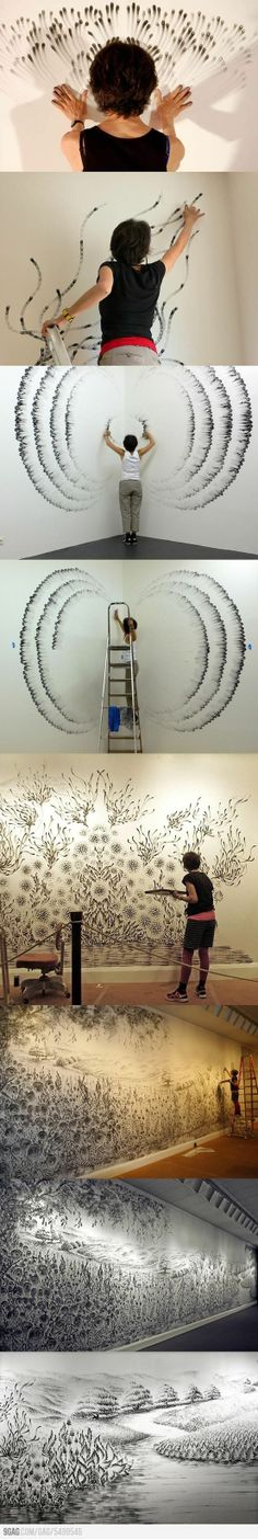 Finger drawings by Judith Braun - this would be really cute for a child's room <<< like do some scenery <<<< or a  nursery