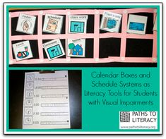 Calendar boxes provide a way to help children who are deafblind or blind or visually impaired with additional disabilities to anticipate what will happen in their day.