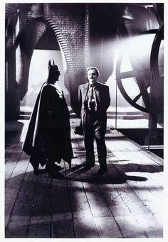 Great moment during a break in shooting Finale in 1889's 'Batman.' (Michael Keaton & Jack Nicholson)