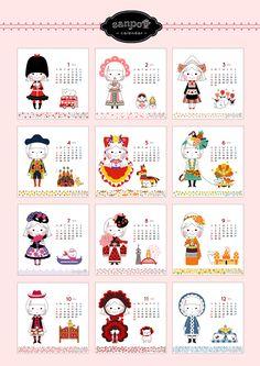 sanpo堂ブログ:さんぽ堂: リボンとがねこのカレンダー2014年度