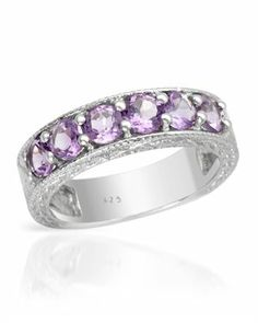 Sterling Silver Ring with 1.31 CTW Amethysts $25 #Jewelry #PrivateLabel