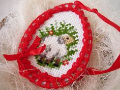 Easter egg sheep  crochet and cross stitch Easter por MariAnnieArt