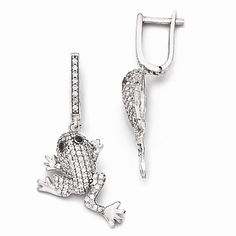 Sterling Silver & CZ Frog Earrings