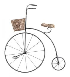 Silver Wall Art | Williams Lighting Galleries  Bicycle with basket seat and handle bar basket
