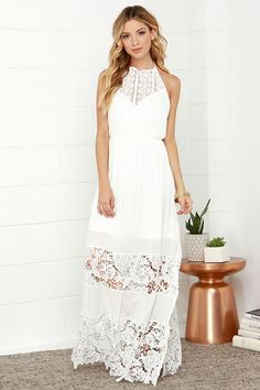 Adorable long white maxi dress for women Ivory Dress - Maxi Dress - Lace Dress - Halter Dress - White Dress Long White Maxi Dress, White Halter Dress, Halter Maxi Dresses, Little White Dresses, Ivory Dresses, Dress Lace, Grey Maxi, Dress Sleeves, Blue Maxi