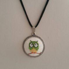 Cross stitch Necklace Green Owl Necklace Owl Cross stitch