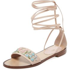 RED Valentino Women's Beaded Floral Lace-Up Sandal - Size 36 ($146) ❤ liked on Polyvore featuring shoes, sandals, multi, wrap sandals, leather lace up sandals, ankle strap sandals, floral sandals and flat shoes