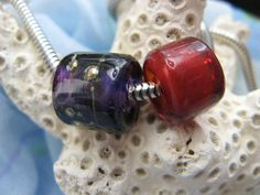 BHB Red Hat Ladies Red and Purple big hole beads by idzyne on Etsy
