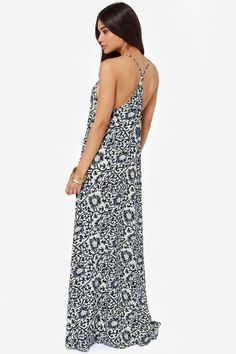 be6536f1b6af9 All Directions Navy Blue Floral Print Maxi Dress at LuLus.com! Floral Print  Maxi