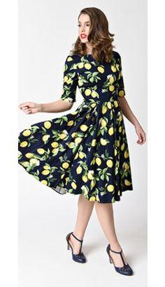 The Pretty Dress Company Navy Blue & Lemon Hepburn Swing Dress