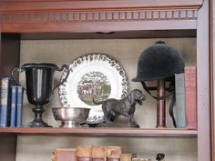 Good use for my old helmet that I bought in Paris circa Add horse or hound statue, equestrian china and trophy or framed ribbon. Equestrian Bedroom, Equestrian Decor, Equestrian Style, English Country Decor, French Country Style, French Country Decorating, English Cottage Interiors, Savvy Southern Style, English Style