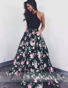 Elegant Laura Mara Same Style Prom Dress, Black Ball Gown Beaded with Rose Print,Black A-line Evening Dress,Floor-length Formal Dress With Beading,Prom Dresses,HY57