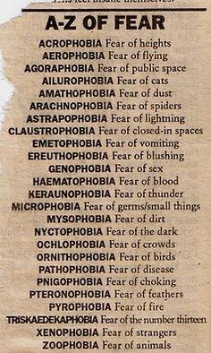 Ooohhh phobiassss