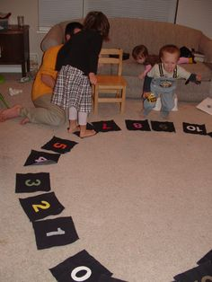 Jump over a number - Counting by 2s ...a great active math idea ... odds and evens too.