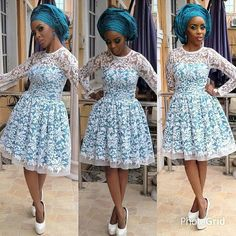 An a wedding guest {bella} looking stunning in aso-ebi – the fabric/colours of the day, at a traditional engagement or - BellaNaija Weddings. African Lace Styles, African Dresses For Women, African Print Dresses, African Attire, African Wear, African Prints, African Women, African Clothes, African Beauty
