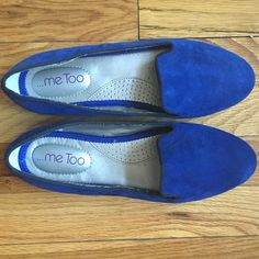 Cobalt blue suede flats size 7.5 Beautiful suede smoking slippers in cobalt blue! No slip rubber bottoms and black grosgrain trim (fraying slightly but not noticeable when wearing). Slight mark shown in photo. (Would keep but upcoming toe surgery has me needing larger sizes!) (No trades please.) me too Shoes Flats & Loafers