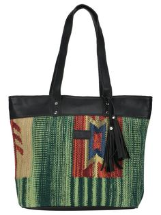 Multi Color Kilim Faux Leather Shopper Bag Shopper Bag 7dca369bc212f