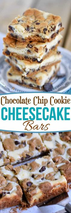 These easy Chocolate Chip Cookie Cheesecake Bars are made with just five ingredients! This easy dessert recipe will satisfy all your cravings! // Mom On Timeout Desserts Chocolate Chip Cookie Cheesecake Bars Oreo Dessert, Brownie Desserts, Mini Desserts, Easy Dessert Bars, Easy Yummy Desserts, Creative Desserts, Cheesecake Desserts, Healthy Cheesecake, Easy Sweets