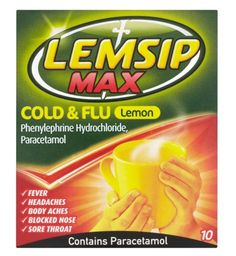 Lemsip Max Flu Lemon Sachets is suitable for fever, headaches, body aches, blocked nose and sore throat Cold And Flu Relief, Blocked Nose, Flu Symptoms, Nasal Congestion, Runny Nose, Sore Throat, Sachets