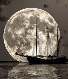 """Moon Sailing by """"Hey, take me, take me to your dream, take me to your deep deep heart. I'm just a lonely sailor sailing on this boundless sea. You are my only direction, you are the dawn of. Old Sailing Ships, Shoot The Moon, Ship Paintings, Moon Pictures, Moon Photography, Beautiful Moon, Jolie Photo, Ship Art, Moon Art"""