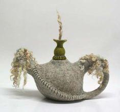 Pamela MacGregor Textiles, Wet Felting Projects, Cute Teapot, Historical Artifacts, Ceramic Teapots, Soft Sculpture, Felt Art, Needle Felting, Wool Felting