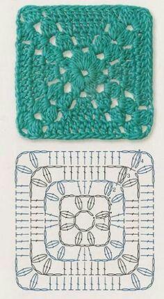 Transcendent Crochet a Solid Granny Square Ideas. Inconceivable Crochet a Solid Granny Square Ideas. Crochet Motif Patterns, Crochet Blocks, Granny Square Crochet Pattern, Crochet Diagram, Crochet Chart, Crochet Squares, Free Crochet, Knitting Patterns, Motifs Granny Square