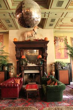 jane hotel - nyc  I love ivory/cream walls, dark wood and rich colours, especially reds and greens