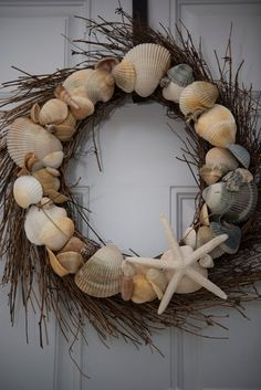 Seashell Wreath with Starfish on Etsy, $45.95