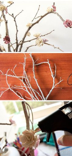 Paper Flowers Blossom Branches   35 DIY Fall Decorating Ideas for the Home   Fall Craft Ideas for Adults