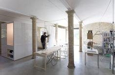 Francesco Di Gregorio, Karin Matz · Tiles and Concrete Contemporary Architecture, Interior Architecture, Interior Design, Parma, Interior Columns, Concrete Tiles, Studio Furniture, Interior Inspiration, Facade