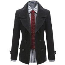 Doublju Mens Wool business-suit-jackets Slim Double Breasted Half Trench Coat CHARCOAL (US-L)