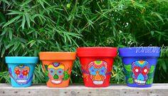 macetas pintadas - calaveras mexicanas
