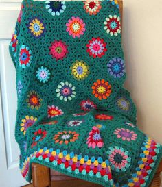 "Large Crochet Blanket Granny Squares Teal Jade Sofa Throw 50"" x 50"""