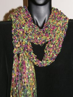 Pink Green Yellow purple multy colored Fancy Ribbon Scarf for spring  by mcleodhandcraftgifts,
