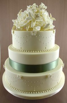 "Vintage Wedding Cake- with sunflowers and aqua ribbon. I love the ""pearls"" on the cake."