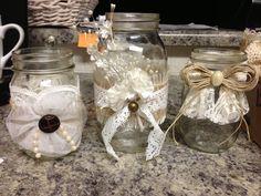 Burlap & Lace Mason Jars - Wedding Decor