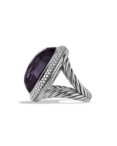 DY Signature Oval Ring with Black Orchid and Diamonds
