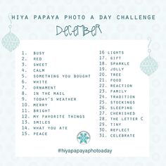 Hiya Papaya Photo a Day Challenge – DECEMBER #hiyapapayaphotoaday